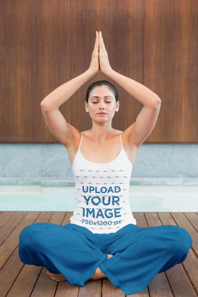 Tank Top Mockup Featuring a Young Woman in a Meditation Pose 40388-r-el2