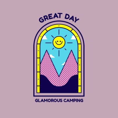Glamping Logo Template Featuring a Colorful Illustration of the Mountains 3874d