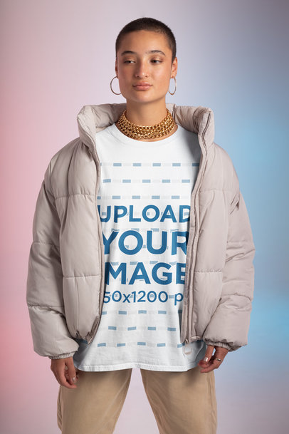 Mockup of a Woman Wearing an Oversized Tee and a Puffy Coat m649