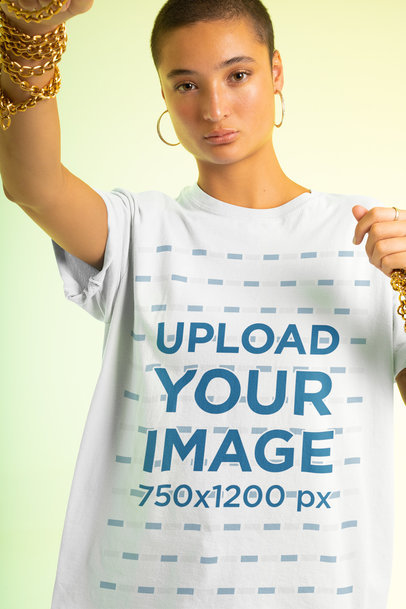 Unisex T-Shirt Mockup Featuring a Woman with an Androgynous Look m650