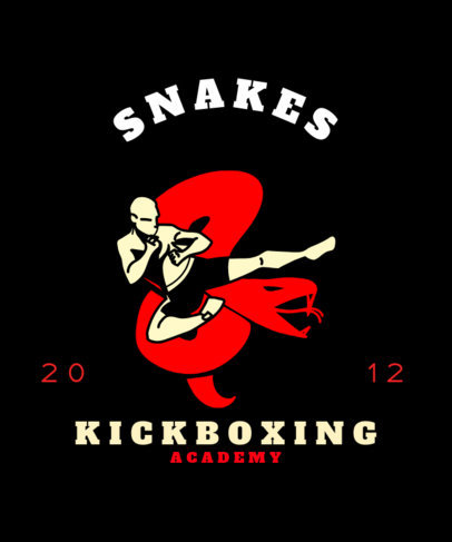 Kickboxing T-Shirt Design Maker with a Graphic of a Man Doing a Jump Kick 3203a