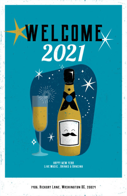 Flyer Design Maker for a New Year Party Featuring a Champagne Illustration 3201e