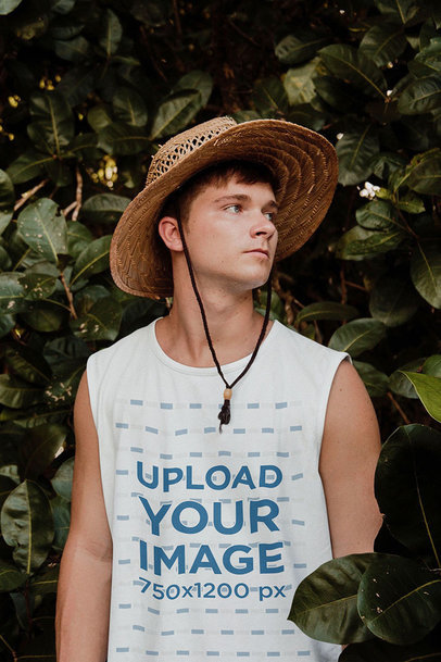 Sleeveless Shirt Mockup of a Young Man in a Garden 45329-r-el2