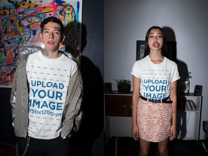 T-Shirt Mockup of a Young Couple with Tattoos Doing Funny Faces m625