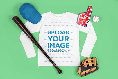 Long-Sleeve Tee Mockup Featuring a Baseball Glove m658