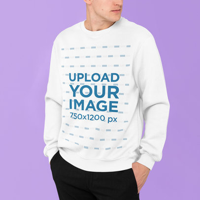Sweatshirt Mockup Featuring a Man Posing With His Hands in His Pockets m835