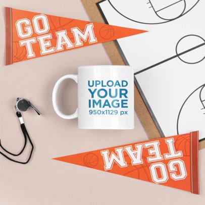 Basketball-Themed Mockup Featuring an 11 oz Coffee Mug m685