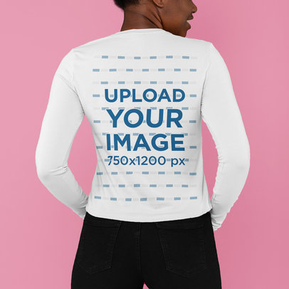 Back-View Mockup of a Woman Wearing a Long Sleeve Tee at a Studio M810