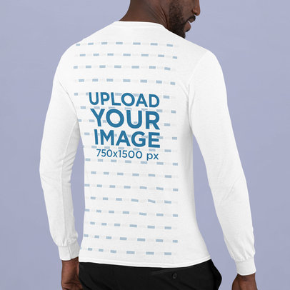 Back-View Long Sleeve Tee Mockup Featuring a Bearded Man at a Studio m743