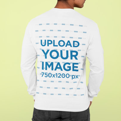 Back View Mockup Featuring a Man Wearing a Long Sleeve Tee Against a Plain Backdrop m821