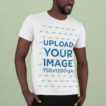 Mockup of a Man with a Beard Wearing a Round Neck Tee m738