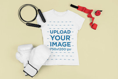 Mockup of a Woman's Tee with Boxing Equipment m676