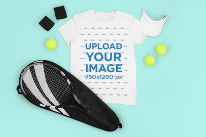 Mockup of a T-Shirt Placed Among Tennis Equipment M671