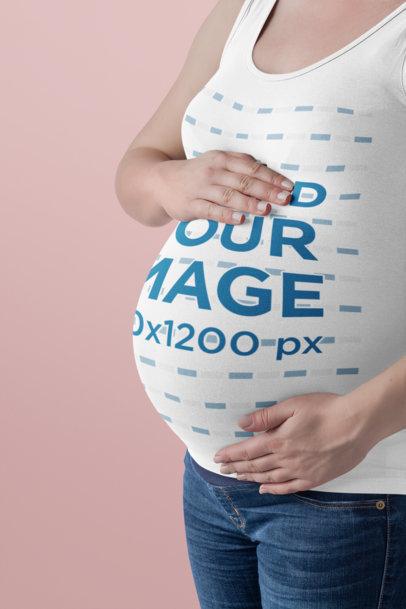 Tank Top Mockup of a Pregnant Woman in a Studio 35123-r-el2