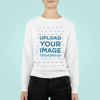 Mockup of a Woman Wearing a Sweatshirt in a Minimalist Setting m846