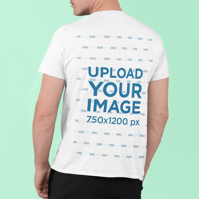 Back View Mockup of a Man Wearing a Basic T-Shirt m830