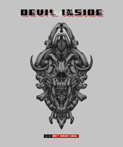 T-Shirt Design Template Featuring Demonic Illustrations 3290-el1