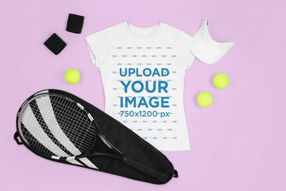 Mockup of a Women's T-Shirt and Tennis Accessories m687