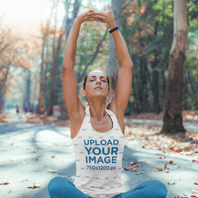 Tank Top Mockup Featuring a Woman Stretching Outdoors 41142-r-el2