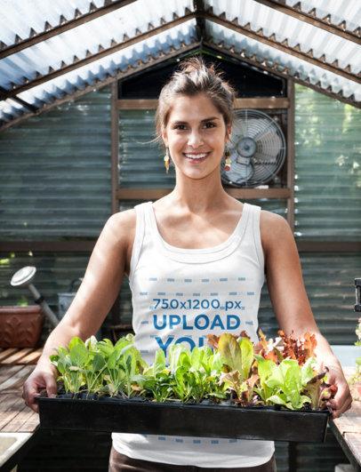 Tank Top Mockup Featuring a Woman at a Greenhouse 39372-r-el2