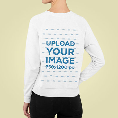 Back View Mockup of a Woman Wearing a Sweatshirt Against a Plain Backdrop m847