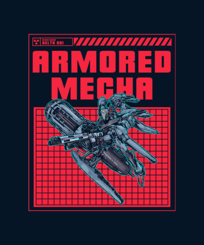 T-Shirt Design Template Featuring Intricate Illustrations of Mecha 3282-el1