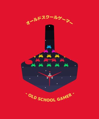 Gamer T-Shirt Design Template Featuring a Retro Console Silhouette 3227c