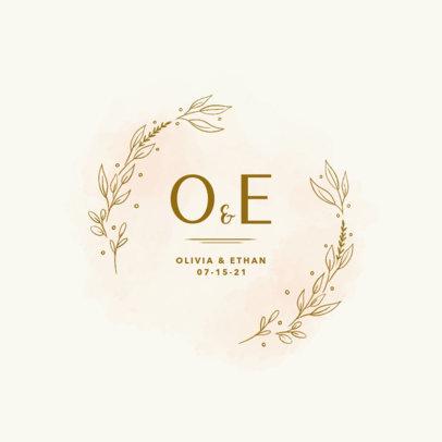 Beautiful Wedding Logo Creator Featuring Decorative Leaves 3919b