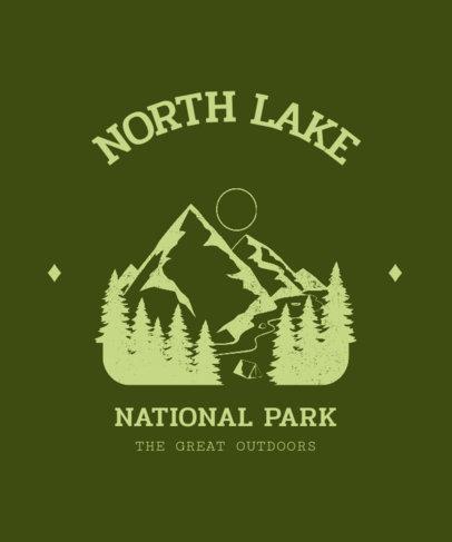 T-Shirt Design Template Featuring a Mountain Landscape Illustration 3230d