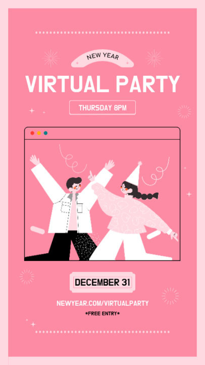 Illustrated Instagram Story Maker to Announce a Virtual New Year's Party 3260b-el1
