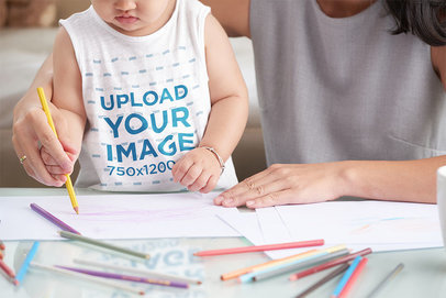 Sleeveless Shirt Mockup of a Baby with Her Mom 37597-r-el2