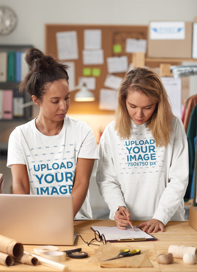 Hoodie and T-Shirt Mockup Featuring Two Women Working 45662-r-el2