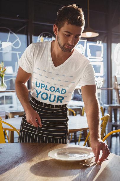 V-Neck T-Shirt Mockup Featuring a Waiter at Work 44674-r-el2