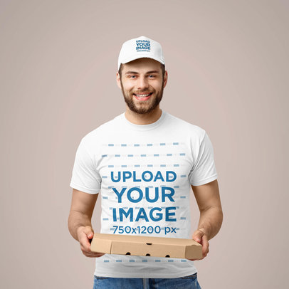 T-Shirt Mockup Featuring a Pizza Delivery Guy with a Dad Hat 39353-r-el2