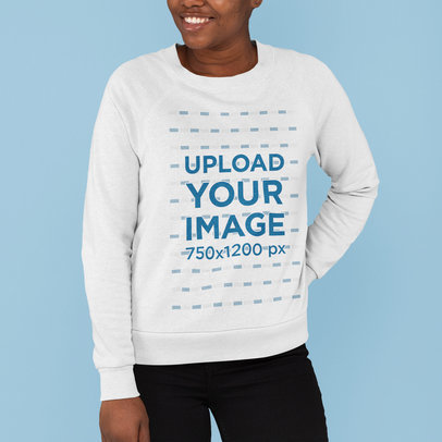 Cropped Face Sweatshirt Mockup of a Woman Posing m815