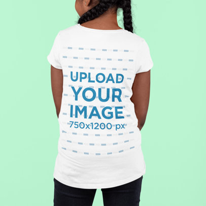 Back View Mockup of a Girl Wearing a T-Shirt Against a Colored Backdrop m878
