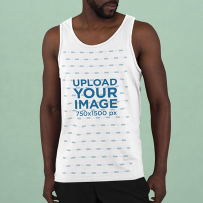 Tank Top Mockup of a Man with a Goatee Beard m750