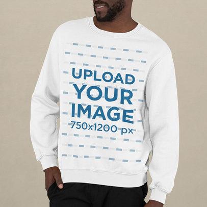 Cropped Face Crewneck Sweatshirt Mockup Featuring a Man Posing m745