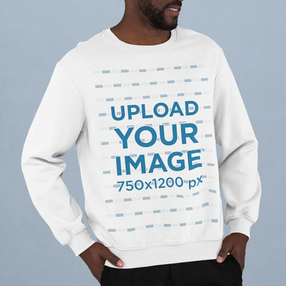 Sweatshirt Mockup of a Bearded Man Standing in a Studio m744