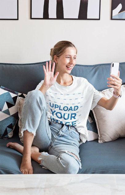 T-Shirt Mockup of a Woman on a Video Call with Her Friends 45597-r-el2