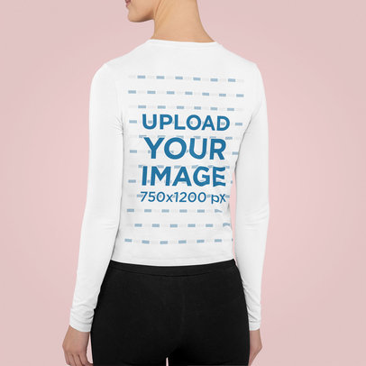 Back View Mockup Featuring a Young Woman Wearing a Long Sleeve Tee m852
