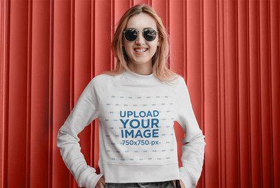 Sweatshirt Mockup of a Happy Woman Wearing Sunglasses 45652-r-el2