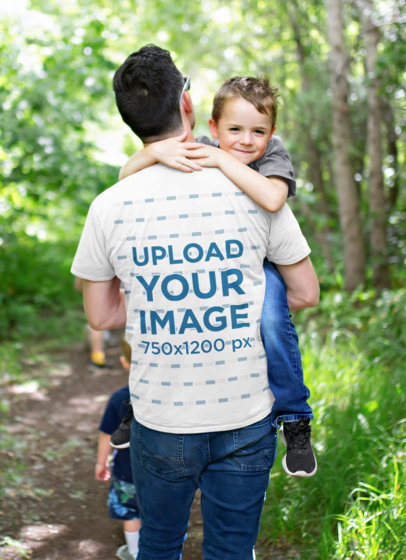 T-Shirt Mockup of a Man Carrying His Kid Through the Woods 45643-r-el2