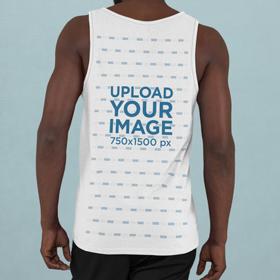 Back-View Mockup of a Man Wearing a Tank Top in a Studio m752