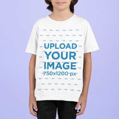 T-Shirt Mockup of a Boy with Long Hair m858