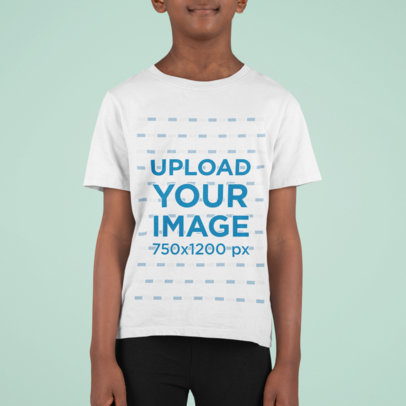 Cropped Mockup of a Kid Wearing a T-Shirt Against a Colored Backdrop m853