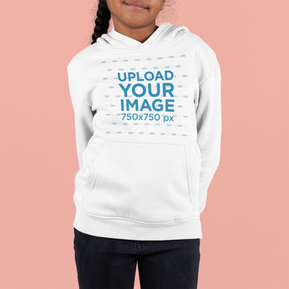 Front-View Hoodie Mockup of a Girl Against a Customizable Background m893
