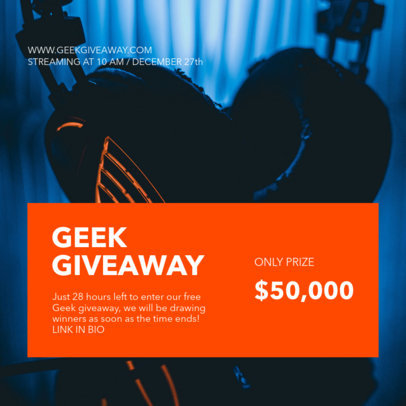 Instagram Post Template for a Geek Giveaway 3298d-el1