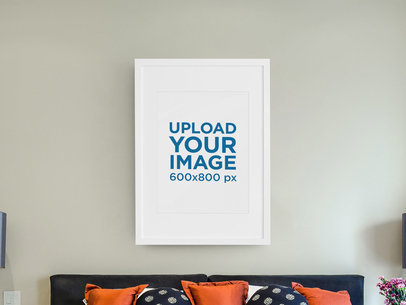 Art Print Mockup Placed over a Bed m963