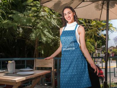 Mockup of a Happy Waitress Wearing an Apron 19823a